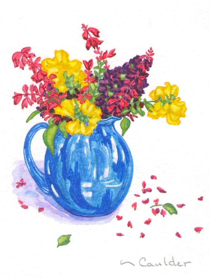 Watercolor painting of flowers in a blue vase on a white background by M. Caulder.