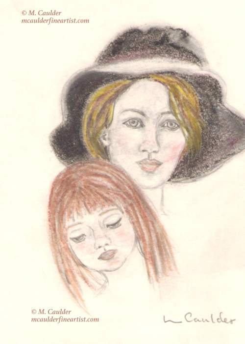 Pastel sketch of a mother and daughter by M. Caulder.