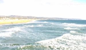 Photograph of the Pacific Ocean and Corona Del Mar by M. Caulder.
