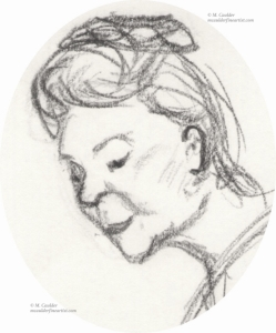 Sketch of a woman's profile by M. Caulder.