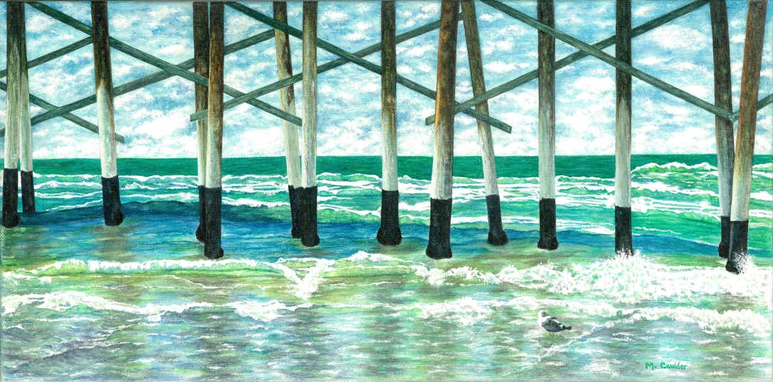 Watercolor painting of Newport Beach Pier by M. Caulder