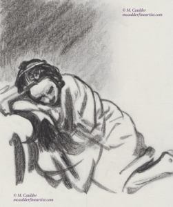 Study of a Rembrandt in graphite by M. Caulder.