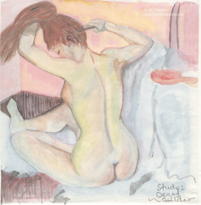 "Watercolor study of Degas' ""Woman Combing Hair"" by M. Caulder."