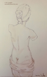 Sepia study of a Venus di Milo by M. Caulder.