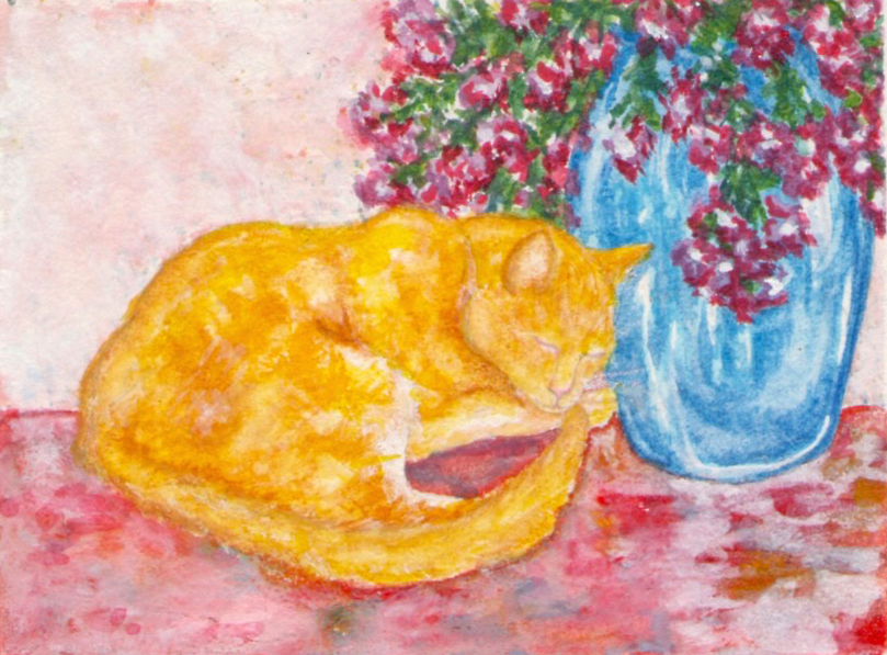 Watercolor painting of a yellow cat next to a blue vase by M. Caulder.