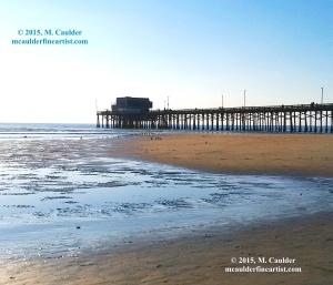 Photograph of Newport Pier and a sandbar by M. Caulder.