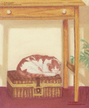 Pastel study of a sleeping orange and yellow cat on a basket by M. Caulder.