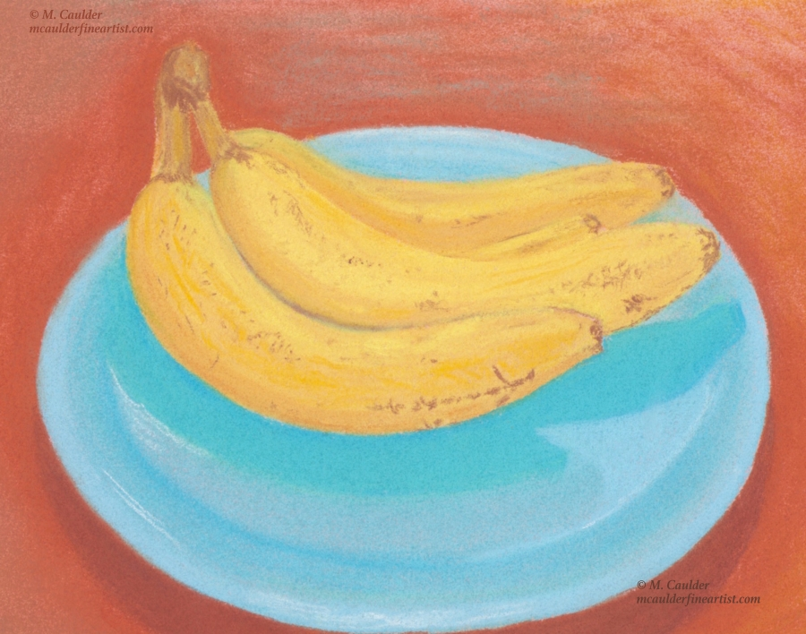 Study of three yellow bananas on a blue plate in pastels by M. Caulder.