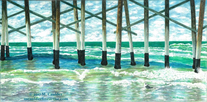 Watercolor painting of Newport Beach Pier with a seagull by M. Caulder.