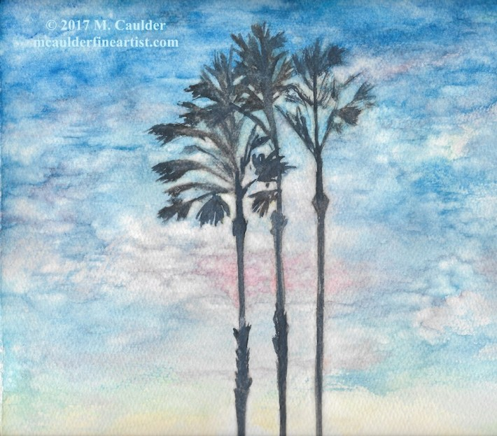 Three Palms Tree Against a Sunset Watercolor Painting