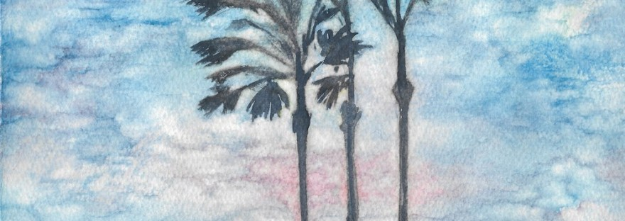 Watercolor painting of three palms trees against a sunset by M. Caulder.