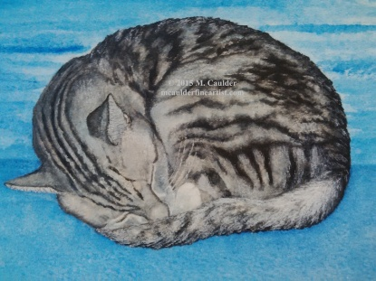Watercolor study of a silver tabby cat by M. Caulder.