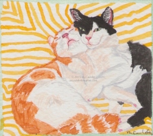 Watercolor study of an orange and white cat and a black and white cat by M. Caulder.