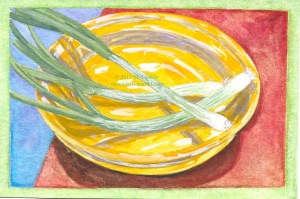 Watercolor sketch of little green onions in a yellow dish by M. Caulder.