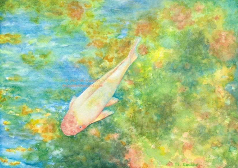 Impressionist watercolor sketch of an orange koi in a colorful pond by M. Caulder.