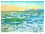 Watercolor painting of the Pacific Ocean at sunset with Catalina Island in the background by M. Caulder.