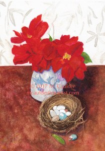 Watercolor painting of roses, bougainvillea, and eggs in a bird's nest by M. Caulder.