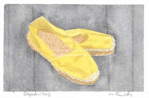 Watercolor sketch of yellow espadrilles by M. Caulder.