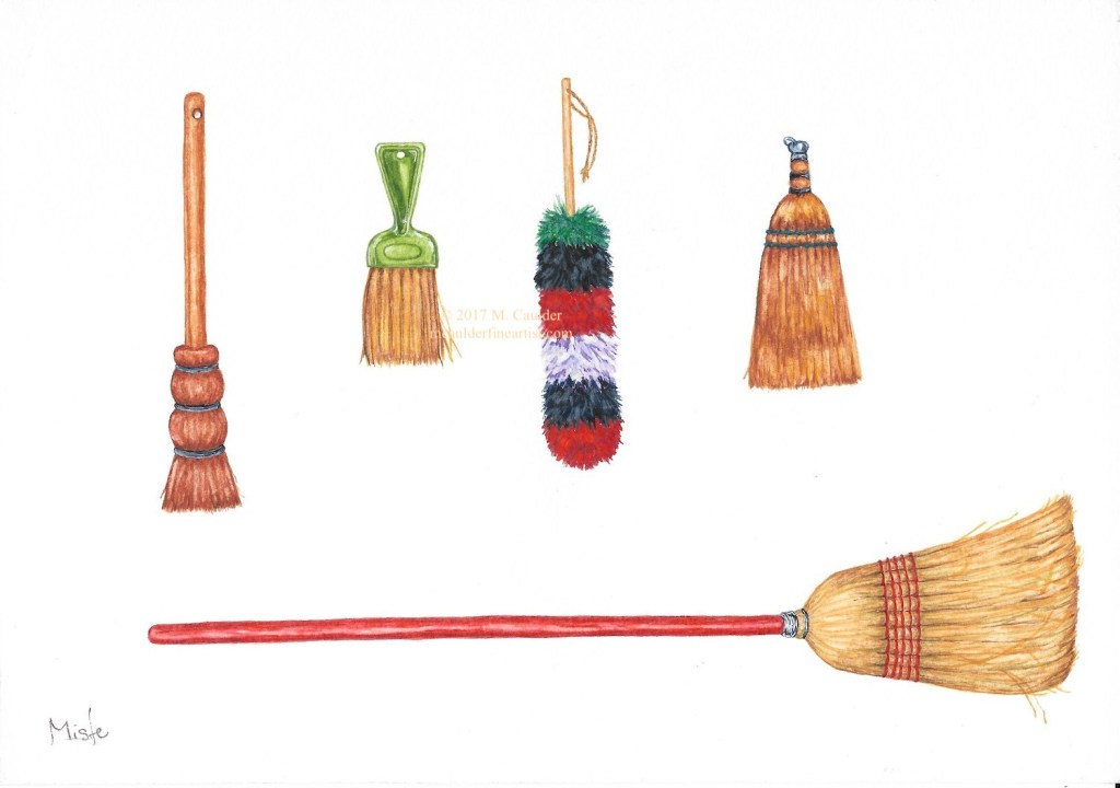 Watercolor sketch of five brooms on a white background by M. Caulder.