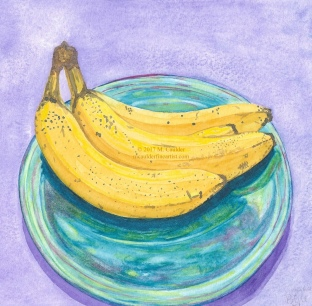 Watercolor Sketch of Three Yellow Bananas on a Blue Plate with a Purple Background by M. Caulder.