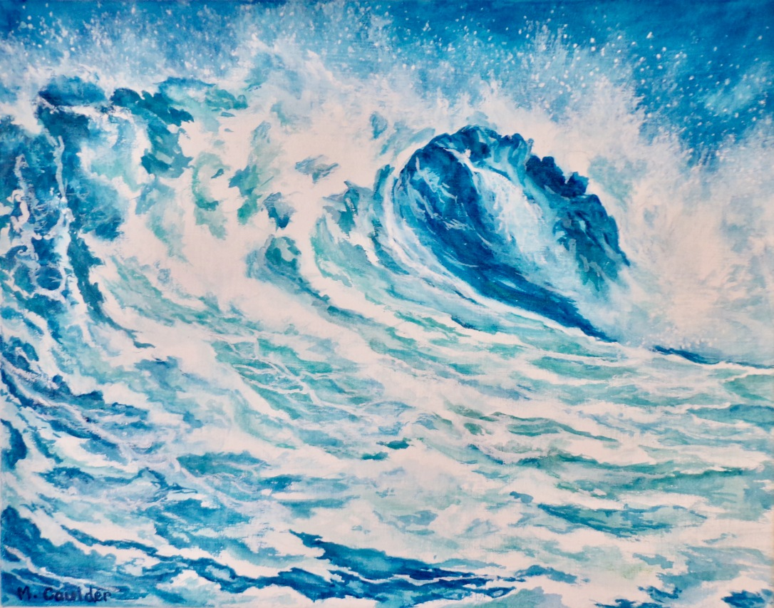 Watercolor on canvas painting of a blue ocean wave.
