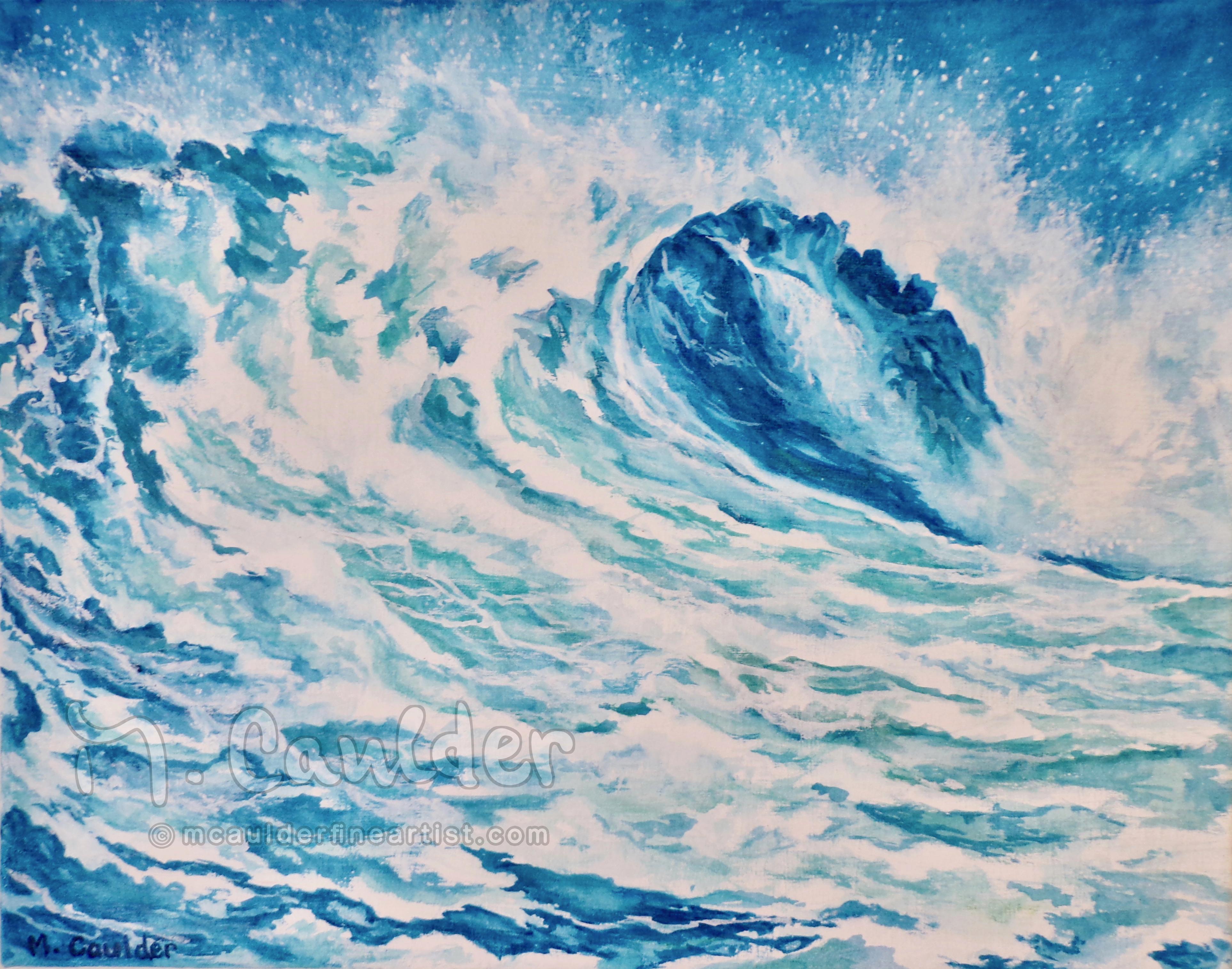 Blue Ocean Wave Painting