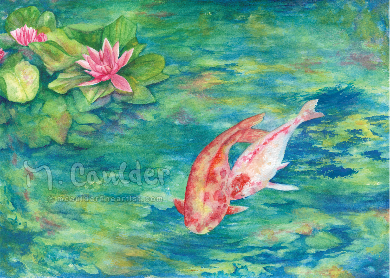 Lily, Pond, Goldfish Painting