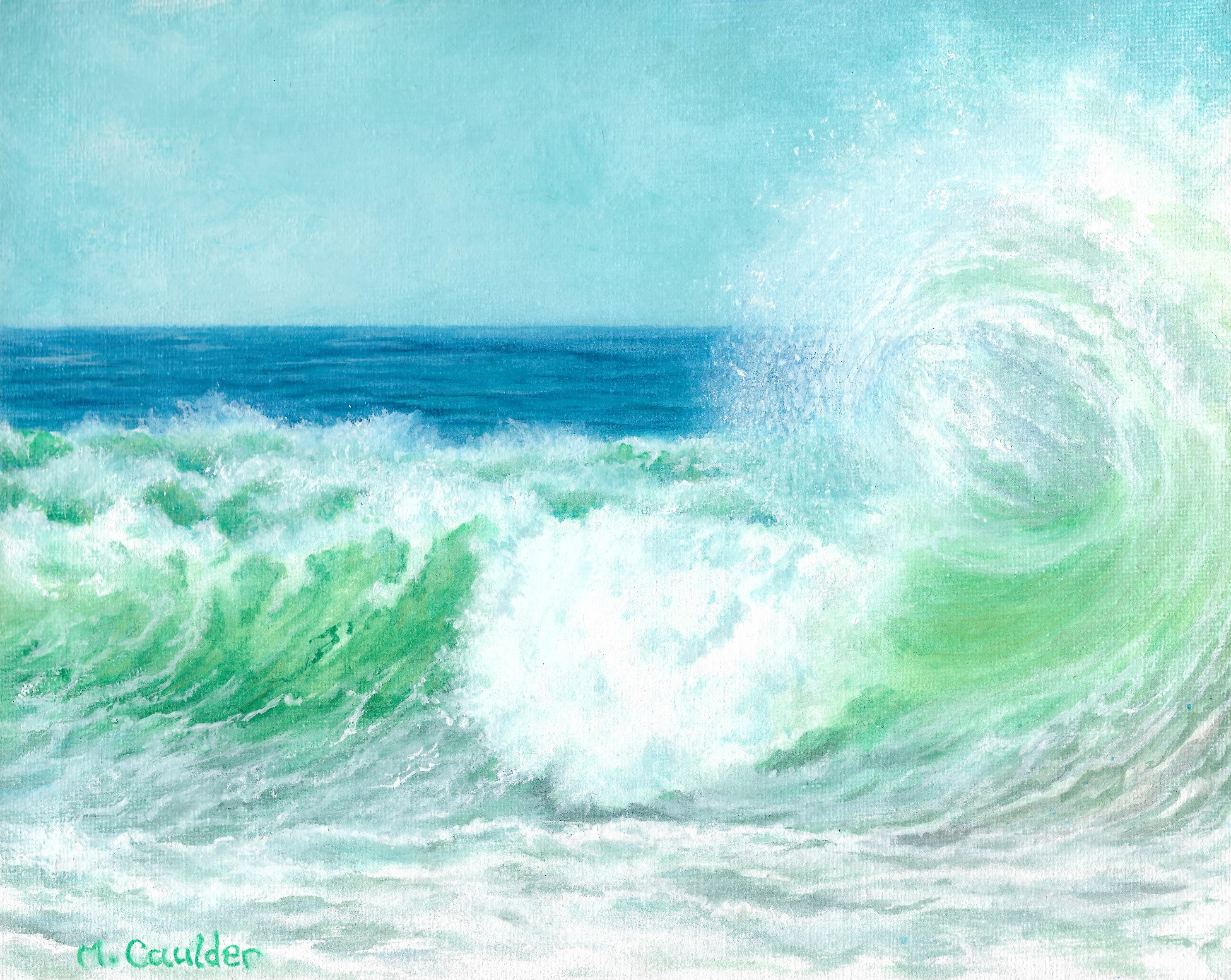 watercolor on canvas painting green ocean waves surf