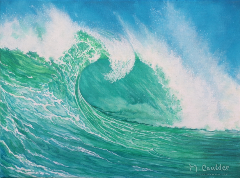 Watercolor on canvas painting of a green wave.